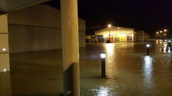 Flood waters cover areas of Manor Park in the early hours of Monday morning.
