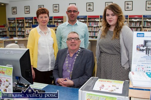 Mayor of Killarney Municipal Area, Cllr. Bobby O'Connell pictured with librarians: Eileen Murphy (left) Barthy Flynn and Caroline Larkin at Castleisland Library Open day . ©Photograph: John Reidy