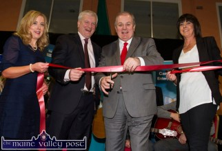 Special guest, Gavin Duffy with Paddy Garvey with Teresa McKenna and Liz Galwey cutting the ribbon to open the Bank of Ireland Enterprise Town Expo at castleisland Community Centre last night. ©Photograph: John Reidy