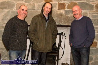 The Handed Down team. PJ Teahan (left) pictured with Mick Culloty and Tomás Mac Uileagóid at the November Handed Down programme in Scartaglin. ©Photograph: John Reidy