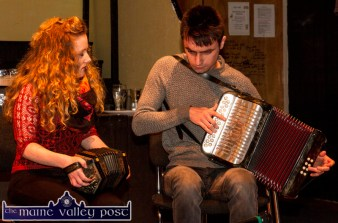 Seven Glens musicians, Niamh Dalton and Michael Kelliher playing at the November 21st Handed Down programme in Scartaglin. ©Photograph: John Reidy