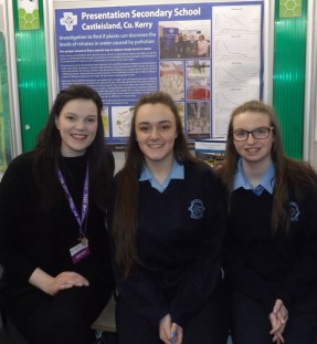 Science teacher, Dayna Hurley pictured with her students, Molly O'Callaghan and Gillian Hanifin at the RDS.