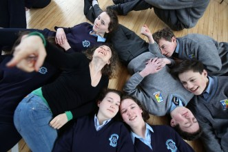 Transition year students from Presentation and St. Patrick's Secondary Schools, Castleisland, enjoying a drama workshop with Drama Facilitator, Marie de la Gueronniere, part of Kerry County Council's Arts Department outreach programme. Photograph: Valerie O'Sullivan