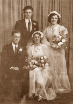 Newly weds, seated: Nora Mulchrone, Buchagh, Newport, Co Mayo and Charlie Curtin, Knightsmountain, Knocknagoshel pictured on their wedding day in Kilburn, London on August 8th 1941 with best man, Michael O'Connell and bridesmaid, Nell Chambers.