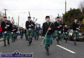 Seán O'Riordan proudly leading out the Cullen Pipe Band at the start of Thursday's St. Patrick's Day Parade in Castleisland. ©Photograph: John Reidy