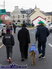 A hero's welcome awaiting Clonmel winner, Coolavanny Bingo with Pat and Eddie Mahony and Noel Browne as they lead the St. Patrick's Day Parade into Castleisland on Thursday. ©Photograph: John Reidy