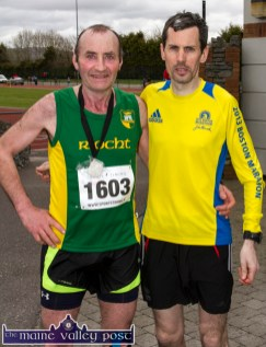 Breaking barriers: An Riocht AC athletes, Larry Hickey (left) and James Doran pictured after the annual An Riocht AC / Lee Strand Kingdom Come 10 Miler and 5K Road Race in Castleisland this morning. ©Photograph: John Reidy
