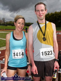 5K winners Martina Kiely and Michael O'Regan, Tralee pictured after the annual An Riocht AC / Lee Strand Kingdom Come 10 Miler and 5K Road Race in Castleisland this morning. ©Photograph: John Reidy