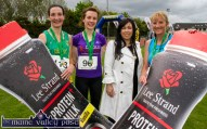 Teresa Walker, Lee Strand marketing manager with the first three athletes from left: Sharon Cahill (2nd) Kate Murphy, winner and Margaret Carlin (3rd) after the 2015 An Riocht AC / Lee Strand Kingdom Come 10 Miler and 5K road race in Castleisland. ©Photograph: John Reidy