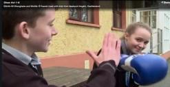 Katelyn Ní hÓrain showing her All-Ireland winning boxing skills with Seán Ó Conchúir on the Cleas Act ar TG4 on Sunday night.