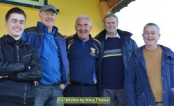 All smiles at the St. Kieran's V Dr. Crokes game in Cordal on Saturday evening were, from left: Gary and Andy O'Leary, Charlie Farrelly, Diarmuid Flynn and Timmy O'Leary. Photograph: Nora Fealey Cúl Photos