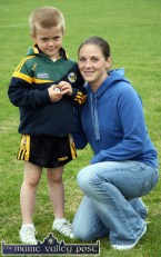 Trevor O'Sullivan pictured after getting his medal with his mom, Deirdre Cronin at the 2010 Currow / Currans Community Games finals at An Riocht AC Stadium in Castleisland. ©Photograph: John Reidy 28-5-2010