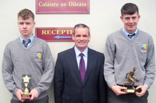 Academic Achievement Award winner David Lynch (left) with Principal Denis O'Donovan and Sports Award winner, Adam Donoghue.
