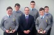 Student of the Year award winners. Front from left: Paddy Brosnan, Denis O'Donovan, principal and Padraig Hilliard. Back from left: Jack Daly and Moss O'Callaghan.