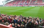 Munster's Holy Ground. The St. Joseph's Pres delegation posing on their arrival at Thomond Park on Saturday.