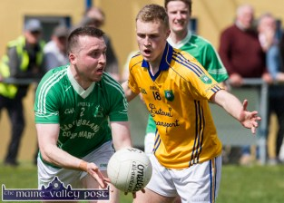 St. Kieran's corner back, Dan O'Sullivan about the ease the pressure on his line in spite of the close attention of Feale Ranger's Brian Sweeney during their Garvey's SuperValu County Senior Football Championship first round game in Cordal on Sunday. ©Photograph: John Reidy