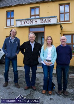 World Fiddle Day co-organisers, Mick Culloty (left) and Tomás Mac Uileagóid (right) welcome US musicians and guests, Skip Gorman, Rhode Island US and Connie Dover, Arkansas, US at Lyons' Bar in Scartaglin on Saturday morning. ©Photograph: John Reidy