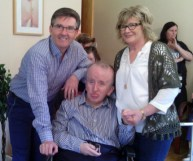 Resident, Eamon O'Brien pictured with Daniel O'Donnell and carer, Noreen Cremins at Glebe Lodge.