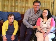 Daniel O'Donnell with Peggy O'Connor and Kathleen O'Callaghan at Glebe Lodge during his visit to the centre at Kilbanivane last week.