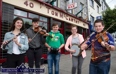 Young buskers taking part in the Mike Kenny Arts and Music Weekend included: locals, Aoife O'Shea, Evan O'Connor, Paul O'Connor, Caroline Hurley who were joined on their street session on Saturday by Shane Crean from the Murphy / Roche Music School in Chicago. ©Photograph: John Reidy