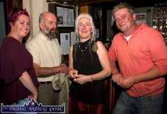 Eileen (left) and Peter Carty (right) pictured with Eamon Fleming and Mags Liston on the opening night of the Mike Kenny Arts and Music Weekend at Browne's Bar on Friday night. ©Photograph: John Reidy