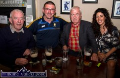 David 'Dauber' Prendiville, Castleisland with Aidan O'Looney, Milltown Malbay; Pats Broderick and Maggie Prendiville-Keane on the opening night of the Mike Kenny Arts and Music Weekend at Browne's Bar on Friday night. ©Photograph: john Reidy