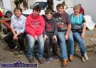 Taking it easy on the Parnell Plinth during the annual Knocknagoshel Horse Fair. Helena, Jules, Davin and Danny O'Mahony with Mary Donegan. ©Photograph: John Reidy