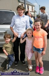 Helena O'Mahony pictured with her local young friends, Joseph Curtin, Alice and Emily O'Keeffe at the annual Knocknagoshel Horse Fair. ©Photograph: John Reidy