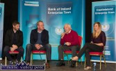Sports Discussion Panel: Kerry footballer, Killian Young, Mick Galwey, Castleisland RFC; Munster, Ireland and The Lions Rugby star; Charlie Nelligan, former All-Star Kerry goalkeeper and Siobhán Fleming, former Irish Women's Rugby star and Six-nations medal winner at the 2015 Bank of Ireland Castleisland Enterprise Town Expo. ©Photograph: John Reidy