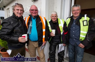 Ready for Road: Den Joe O'Connor, Castleisland (left) pictured with: Richie Dunne, Kinsale; Finbar McCarthy, Crookstown and Kevin Wright, Kinsale before Sunday morning's Honda Run in aid of Castleisland Day Care Centre. ©Photograph: John Reidy