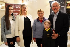 Amber and Angela O'Donoghue, Patricia Keane, Lily O'Connor and tournament director, Donal O'Connor pictured at the launch of the 47th annual St. Mary's Basketball Blitz. Photograph: Liz Galwey