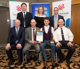 The Lee Strand / Kerry Garda Youth Achievement Awards which were held at the Ballyroe Heights Hotel, Tralee. Shay Walsh, Scartaglen was a Distinction Award winner he is pictured here with, John O'Sullivan, General Manager, Lee Strand, Donal Pierse, Chairman, Lee Strand and Tom Myers, Chief Superintendent. Also included are Shay's parents, John (left) and Nora Walsh and Denis O'Donovan, principal, St. Patrick's Boys' Secondary School, Castleisland. Photograph: Domnick Walsh © Eye Focus LTD.