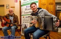 Guest musicians, Paul de Grae and Bryan O'Leary warming up for Saturday night's Handed Down session in Scartaglin ©Photograph: John Reidy