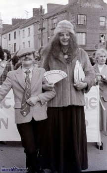 Daisy O'Connor (left) and Joe Martin were part of the Ivy Leaf Art Centre troupe taking part in the first St. Patrick's Day Parade in Castleisland. ©Photograph: John Reidy 17-3-1989
