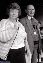 St. Patrick's Day Parade founder, Helen Hussey-Leane pictured with Árd Rí Michael McGillicuddy as they watch the first St. Patrick's Day Parade in Castleisland. ©Photograph: John Reidy 17-3-1989