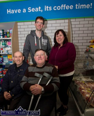 Kieran McAuliffe pictured in his just opened XL Store in Knocknagoshel this morning with customers, Tim McAuliffe, Maurice O'Connell and Deirdre Bell. ©Photograph: John Reidy