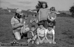 The Railway Children Playing in The Polo: Front from left: Thomas Hayes. Peter Carty and Cathal Breen Back row: John Reidy holding baby Mandy Keane with her sisters Marie and Linda Keane and Micheál Reidy. ©Photograph: John Reidy 2-7-1983