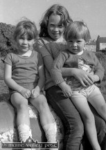 The Railway Children: The Keane sisters, from left: Marie, Linda and Mandy. Their grand-dad, John 'CIE' O'Sullivan was the last station master in Castleisland. ©Photograph: John Reidy 2-7-1983
