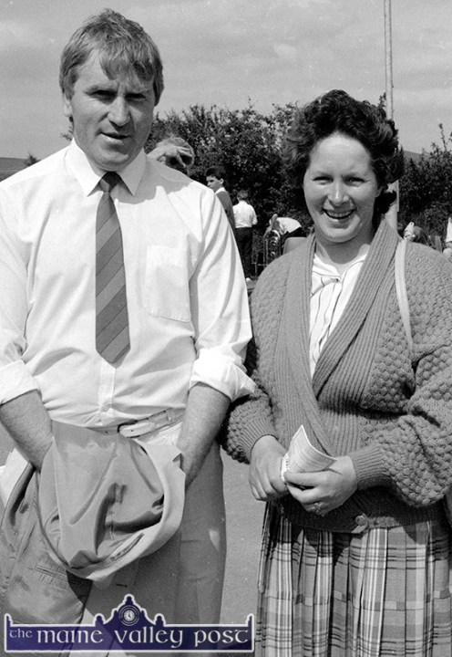 Jimmy Deenihan, TD pictured with local supporter, Peggy Reidy at the official opening of Castleisland Community College on Friday 26-5-1989. ©Photograph: John Reidy