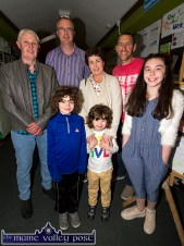 Edmond Hartnett (left) and Maurice Casey with Mag and Rory McGrath and Luke, Adam and Ellie at the Castleisland Community College 30 year celebrations. ©Photograph: John Reidy