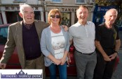 Proud grand-dads, James Lyons (left) and John Ahern (right) with Eileen Lyons and Mike Quirke await the team's return to Castleisland. ©Photograph: John Reidy
