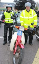 Bikers, Con Cremin (left) and Peter O'Connor during a break in the run at Currow Village. Photograph: Pat Hartnett.