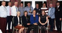 Dick Fitzgerald Cup Competition winners, with Fitzgerald family and Castleisland Golf Club representatives at the presentation night at the Woodlands House Hotel in Adare. Front from left: Lady President Maria O' Connor, Lady Captain Catherine Walsh, Mary Fitzgerald and Elaine Fitzgerald. Back from left: John Manton, Conor Fitzgerald, David Fitzgerald, Niall Gilroy, Eamonn Fealey, Brendan Keehan, Willie O'Leary, Richard Fitzgerald and Castleisland Golf Club Captain, Jonathan Kelliher.