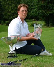 Julianne Browne pictured at Castleisland Pitch and Putt Club with the spoils of her victory in the 2004 Munster Matchplay finals in Cork. ©Photograph: John Reidy 28-7-2004