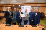 Mayor of Kerry John Sheahan presents PJ Teahan of the Scartaglin Community Group: for the Handed Down project, which intends to create an online archive of Sliabh Luachra's rich musical heritage. -- Also pictured in the Kerry County Council Chambers were Kate Kennelly Arts Officer KCC , Tommy O'Connor KCC , Michael Lynch KCC and Cllr Sam Lock . Photograph: Domnick Walsh © Eye Focus LTD ©