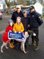 2018 BoyleSports Irish Derby winner, Silent Whisper with his trainer, Moss O'Connor (left) and assistant trainer, Mossie Leane with Moss and Millie Hughes and Jack Nolan. Photograph: Moira Hughes