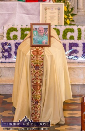 Georgie O'Callaghan's remains ready for the final journey in the Church of Saints Stephen and John in Castleisland on Thursday. ©Photograph: John Reidy