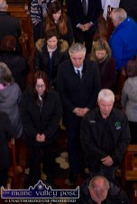 FAI Chief Executive, John Delaney and Kerry District League Secretary John Regan joined locals at the funeral mass for Georgie O'Callaghan at the Church of Saints Stephen and John in Castleisland on Thursday. ©Photograph: John Reidy