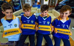 Pride in the Jersey: Cordal GAA Club juvenile members from left: Micheál Hickey, Killian Dennehy, Gerard Costello and Thomas Kelliher at the Divanes Castleisland jersey presentation in the Stanley Divane Pavilion on Saturday. ©Photograph: John Reidy