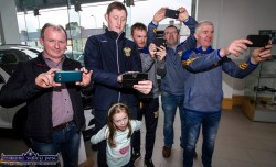 Cordal GAA Club snappers in action during the jersey presentation ceremony at the Stanley Divane Pavilion, Killarney Road, Castleisland on Saturday. With Emily O'Donoghue are, from left: Eamonn Kelliher, with Emily's dad, Eamonn John O'Donoghue, Seán Óg Ó Ciardubháin, Richard O'Donoghue and Maurice Costello. ©Photograph: John Reidy